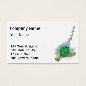 Professional Business Whimsical Antique Fishing Reel Business Card