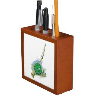 Whimsical Antique Fishing Reel Desk Organizer
