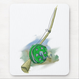 Whimsical Antique Fishing Reel Mousepad
