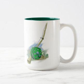 Whimsical Antique Fishing Reel Two-Tone Coffee Mug