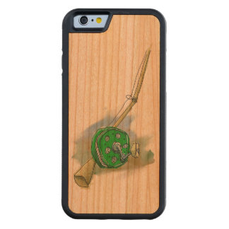 Whimsical Antique Fishing Reel Wood Smartphone Cas Carved Cherry iPhone 6 Bumper Case