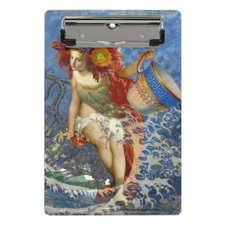 Whimsical Aquarius Mermaid Gothic Retro Collage Mini Clipboard