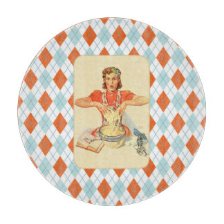 Whimsical Argyle Vintage Cook Cutting Board