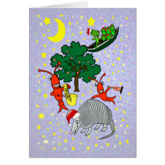 Whimsical Armadillo Crawfish Gator Xmas Card