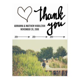Whimsical Arrows Heart Wedding Thank You Photo Postcard