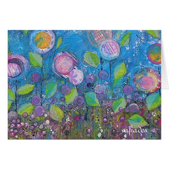 Whimsical art, bright flowers in beautiful garden. card