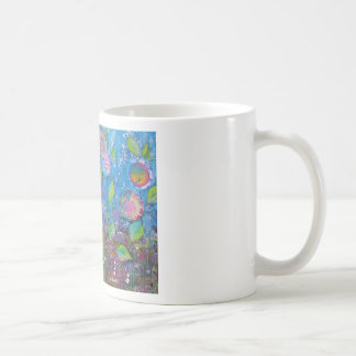 Whimsical art, bright flowers in beautiful garden. mugs