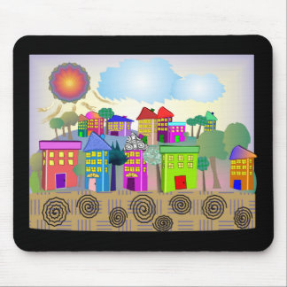 """Whimsical Art Gifts """"Summer Cottages"""" by g. gabel Mouse Pads"""