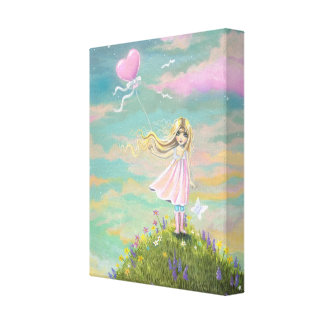 Whimsical Art Little Girl with Heart Balloon Canvas Prints