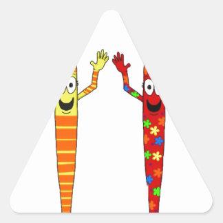 Whimsical Art Paintbrush paint Brush Cute Set Four Triangle Sticker