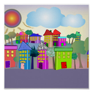 """Whimsical Art Poster """"The Cottages"""" by gail gabel"""
