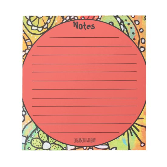 Whimsical Artsy Floral Doodles Orange Lime Green Notepad