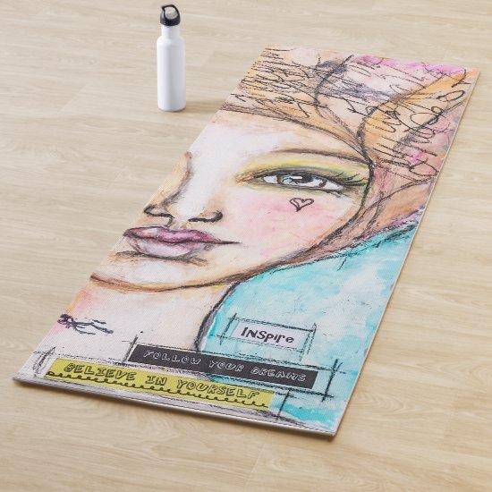 Whimsical Artsy Girl Portrait Inspire Blue Pink Yoga Mat