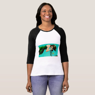 Whimsical Artwork of Woman with Camera Under Water T-Shirt