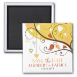 Whimsical Autumn Lovebirds Save the Date Magnet