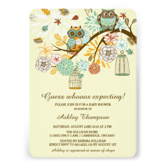 Whimsical Autumn Owls Baby Shower Invitation