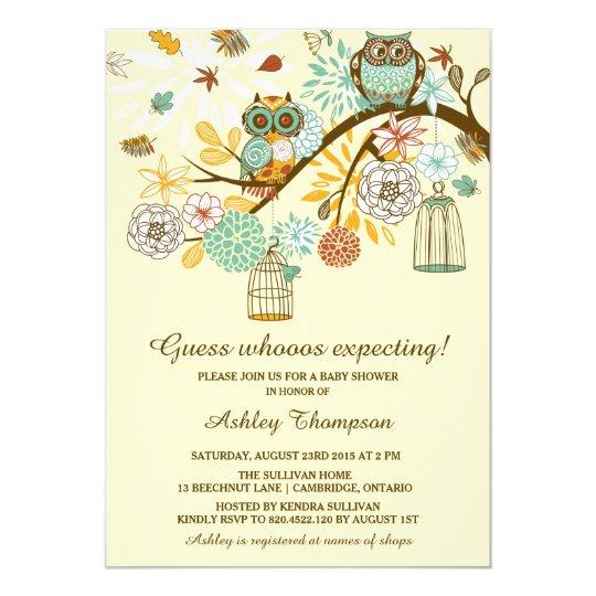 Whimsical Autumn Owls Baby Shower Invitation Zazzle