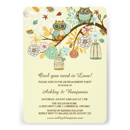 Whimsical Autumn Owls Engagement Party Invitation