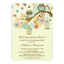 Whimsical Autumn Owls Rehearsal Dinner Invitation