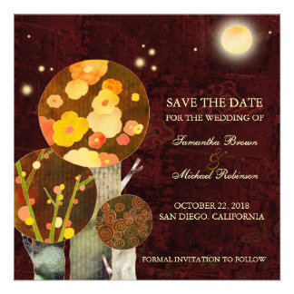 Whimsical Autumn Trees Save the Date Invitations