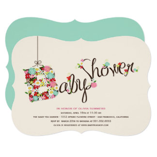 Whimsical B Spring Flowers Baby Shower Invite