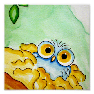 "WHIMSICAL BABY BLUE OWL 11""X11"" Poster"