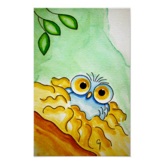 WHIMSICAL BABY BLUE OWL 1 Poster
