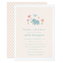 Whimsical Baby Elephant Baby Shower Invitation