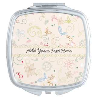 Whimsical Background with Delicate Ribbon Makeup Mirror