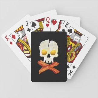 Whimsical Bacon Crossbones Eggs Skull Poker Cards