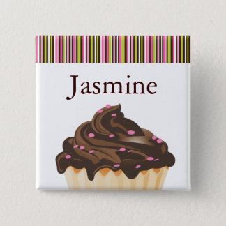 WHIMSICAL BAKERY CUPCAKE NAME TAG BUTTON