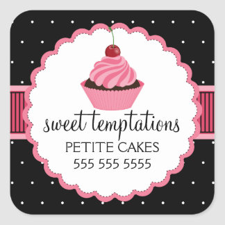 Whimsical Bakery Cupcake Pink Stickers
