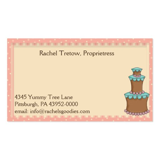Whimsical Bakery w/Cupcake Profile - Business Card (back side)