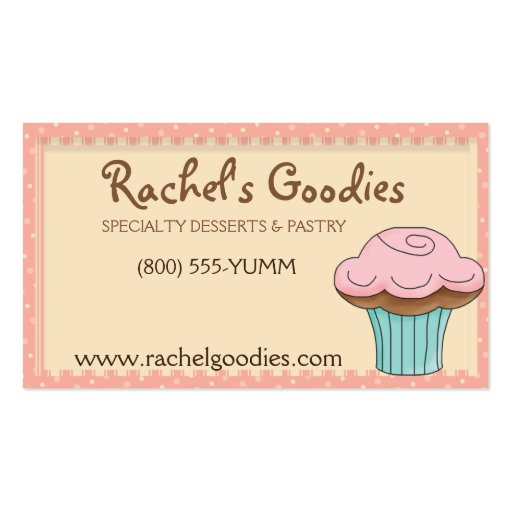 Whimsical Bakery w/Cupcake Profile - Business Card (front side)