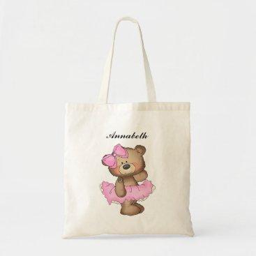 Beach Themed Whimsical Ballerina Bear Girls Tote Bag