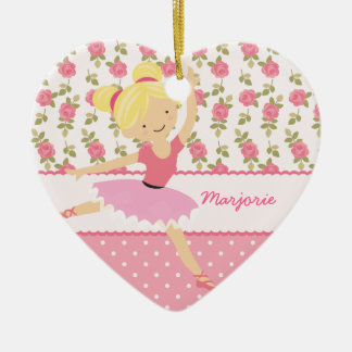 Whimsical Ballerina Floral Pink Girly Personalized Ceramic Ornament