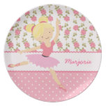 Whimsical Ballerina Floral Pink Girly Personalized Melamine Plate