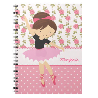 Whimsical Ballerina Floral Pink Girly Personalized Note Book
