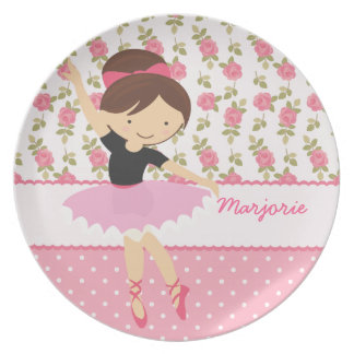 Whimsical Ballerina Floral Pink Girly Personalized Party Plate
