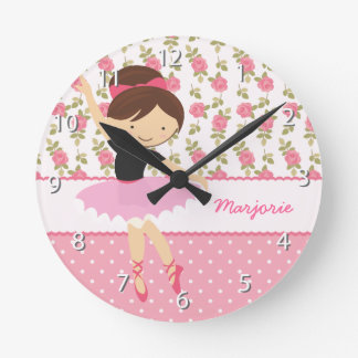 Whimsical Ballerina Floral Pink Girly Personalized Round Clock