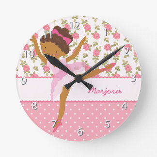 Whimsical Ballerina Girly Floral Pink Personalized Round Clock