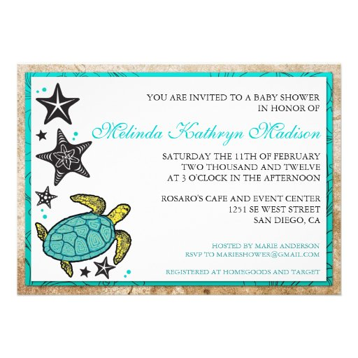 Whimsical Beach BABY Shower  Invitations