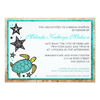 Whimsical Beach Bridal Shower  Invitations