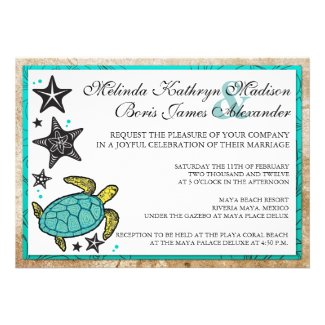 Whimsical Beach Destination Wedding Invitation