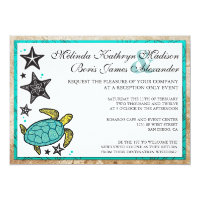 Whimsical Beach Reception Only Wedding Invitations