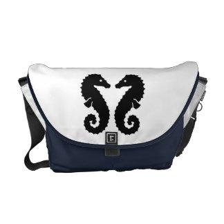 Whimsical Beach Seahorse Silhouettes Blue Custom Courier Bag