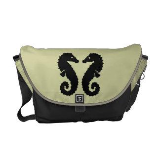 Whimsical Beach Seahorse Silhouettes Neutral Messenger Bag