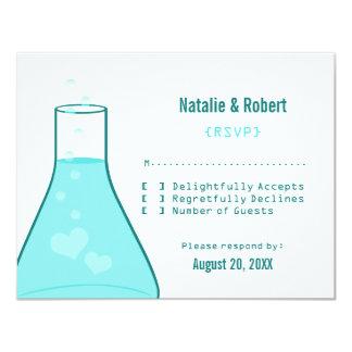 Whimsical Beaker Response Card, Aqua 4.25x5.5 Paper Invitation Card