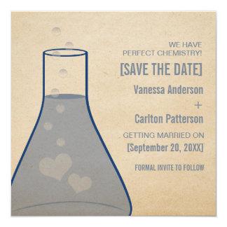 Whimsical Beaker Save the Date Invite, Blue Card