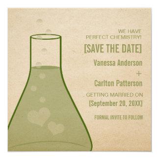 Whimsical Beaker Save the Date Invite, Green Card